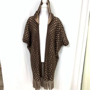 Max Edition Open Hooded Cardigan Cape L Brown